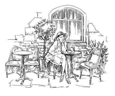 Vector sketch of old street cafe.