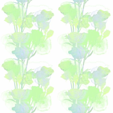 Green and gray floral patten. Roses shiluette. Hand drawn texture illustration.