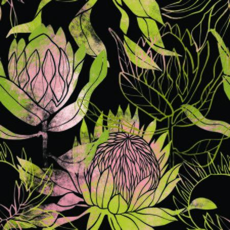 Pink and green flower pattern. Protea flower. Hand drawn illustration. Fullsize raster artwork. Imagens