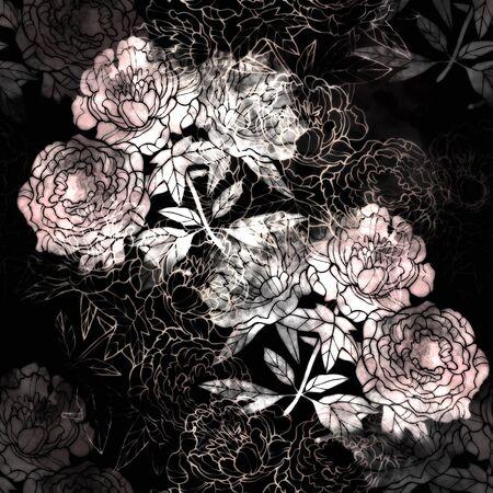 Pink and Red flower raster pattern. Hand drawn illustration on white or black background. Banco de Imagens - 132391949