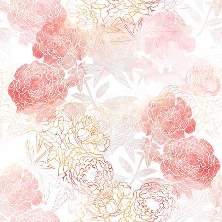 Pink and Red flower raster pattern. Hand drawn illustration on white or black background. Banco de Imagens - 132391951
