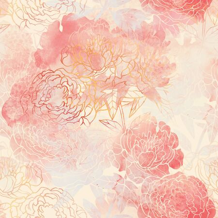 Pink and Red flower raster pattern. Hand drawn illustration on white or black background.