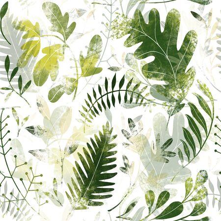 Green plants pattern. Leaves, brunshes and plants. Fullsize raster artwork