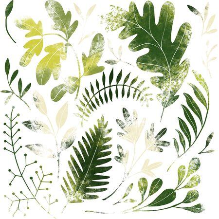 Green plants pattern. Fullsize raster artwork. Nature colours. 免版税图像