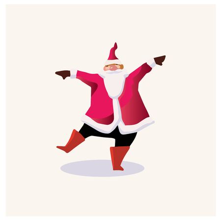 Set of cartoon Christmas illustrations. Funny happy Santa Claus character with gift, bag with presents, waving and greeting. For Christmas cards, banners, tags and labels. Ilustração
