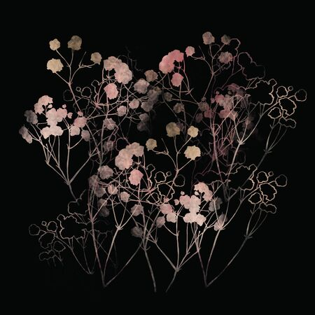 Floral pattern, pink small flowers brunshes. on white gray and black background. Hand drawn illustration, texture pattern.