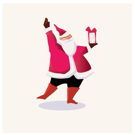 Set of cartoon Christmas illustrations. Funny happy Santa Claus character with gift, bag with presents, waving and greeting. For Christmas cards, banners, tags and labels. 免版税图像