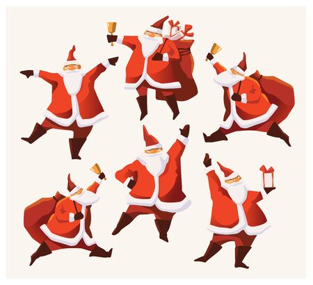 Set of cartoon Christmas illustrations. Funny happy Santa Claus character with gift, bag with presents, waving and greeting. For Christmas cards, banners, tags and labels. Banco de Imagens - 132719847