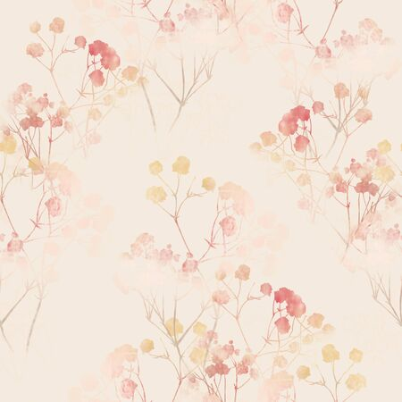 Floral pattern, pink small flowers brunshes. on white gray and black background. Hand drawn illustration, texture pattern. Banco de Imagens - 132720452