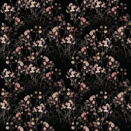 Floral pattern, pink small flowers brunshes. on white gray and black background. Hand drawn illustration, texture pattern. Banco de Imagens - 132731204