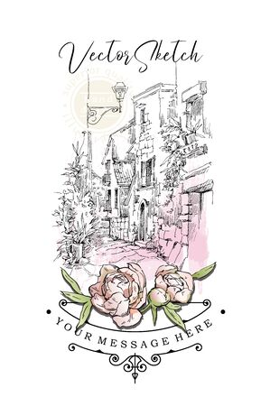 Hand drawing vector sketch of old street view. Shabby chic sharming drawings. Scrapbooking kit. European archtecture elements. Windows, doors, old stone walls. Rural landscape. Small town houses. Ink and pen isolated drawings.