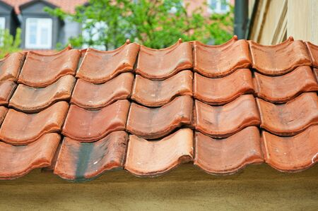 small roof: Medieval tiles on the small roof.
