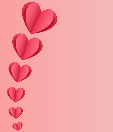 affairs: St. Valentine card with red paper hearts on pink background Illustration