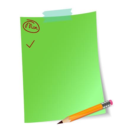 mindennapi: Napi tervezés zöld papírlap hétfő szó, kullancs és a ceruzát. Lista a mindennapi rutin