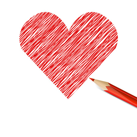 hatchwork: Red heart drawn with pencil. Illustration on white background