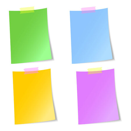 scotch: Colorful blank sheets of paper sticked with scotch