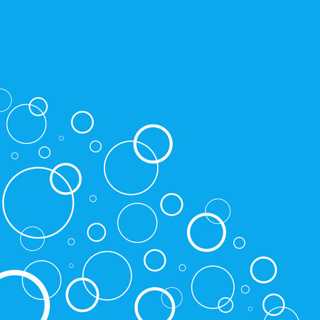 grahic: Abstract background with white circles on blue background. Air or water image Illustration