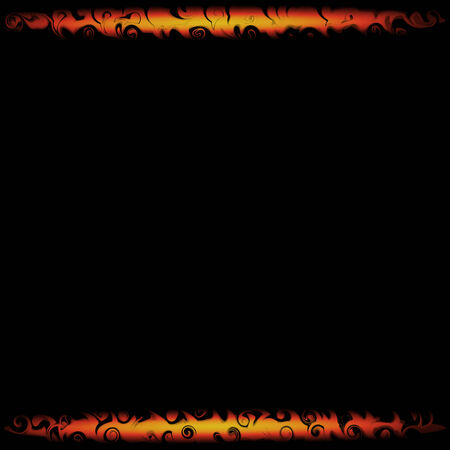 flamy: Ornate fire frame on black background