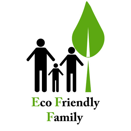 Eco friendly family emblem on white photo