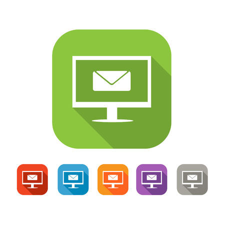 penfriend: White and green square flat  icon with computer and mail  Color set in red, blue, orange and purple and grey colors Illustration