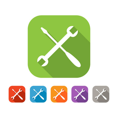 White and green square flat tools icon with color set in red, blue, orange purple and grey colors