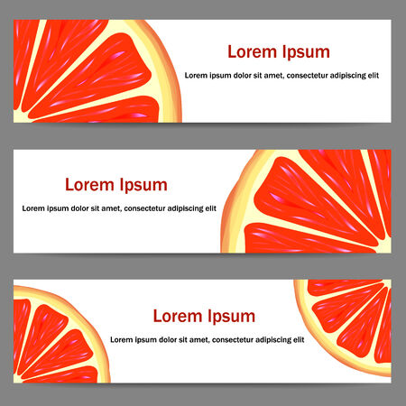 Set of three banners with bright oranges on white background Vector