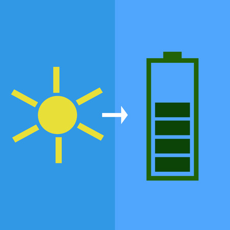 solar battery: Solar battery as concept of eco-friendly source of energy Illustration