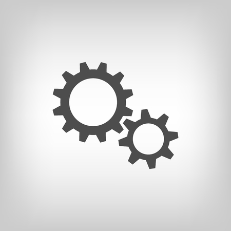 gears: Simple illustration of two gear wheels in grey colors