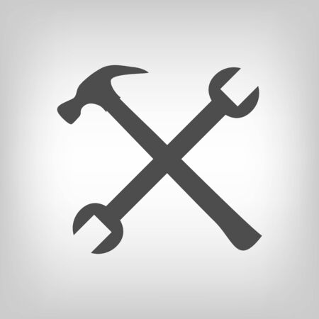 remount: Crossed hammer and spanner  Tools icon in grey color, repair symbol