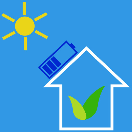 solar battery: Eco house with solar battery as idea of eco-friendly source of energy Illustration