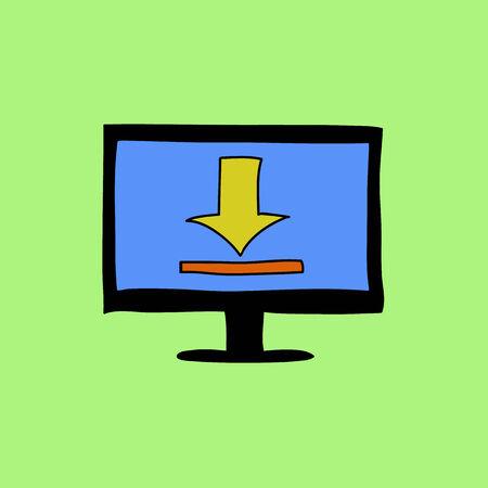 uploading: Doodle stile monitor del computer con il caricamento segno. Scaricamento dati