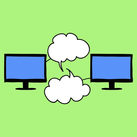 Doodle style online chat image. Two computers with chat clouds