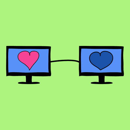Two pc monitors with hearts connected. Virtual love in doodle style