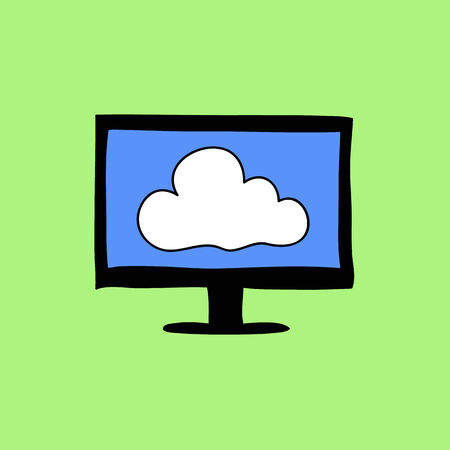 Cloud computing sign in colorful doodle style Vector
