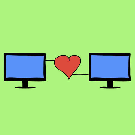 Doodle style love online with two computers connetcted with red heart