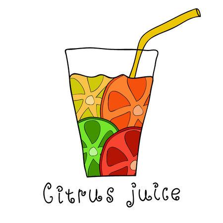 lemon lime: Succo di agrumi Doodle di paglia. Mix di arancia, limone, lime e pompelmo Vettoriali
