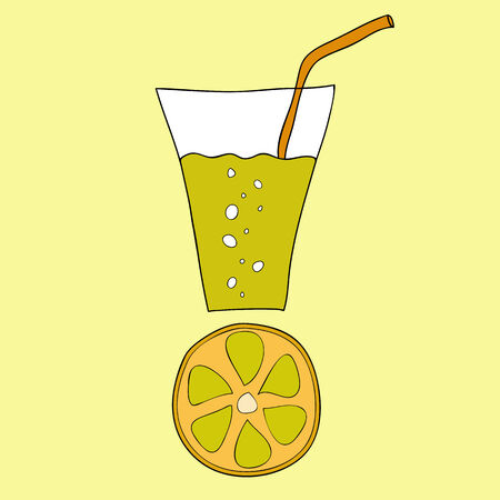 lemon juice: Doodle lemon juice with straw and citrus slice below