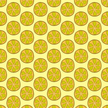 rich in vitamins: Seamless doodle pattern of lemon slices. Citrus background