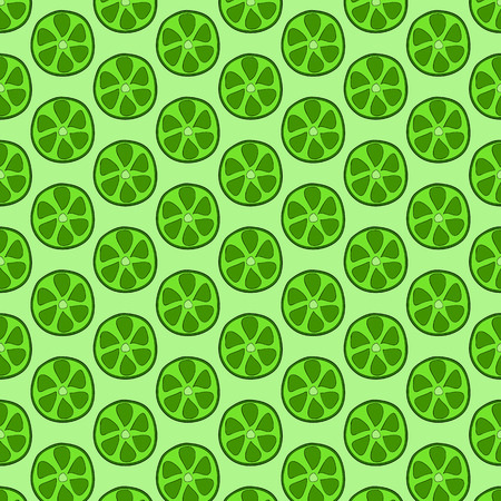 rich in vitamins: Seamless doodle pattern of lime slices. Citrus background Illustration