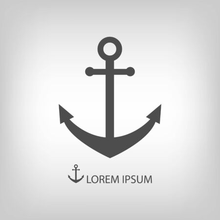 dockyard: Anchor as logo with copyspace in grey colors Illustration