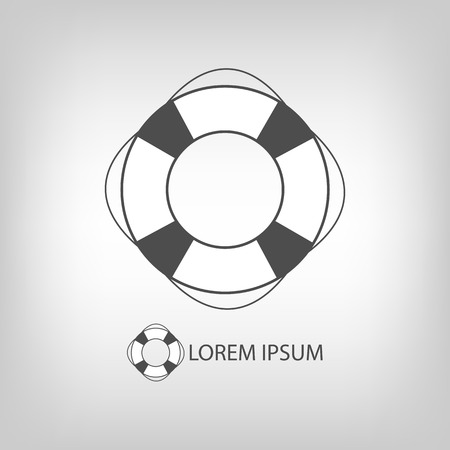 flotation: Safety ring as logo with copyspace in grey colors