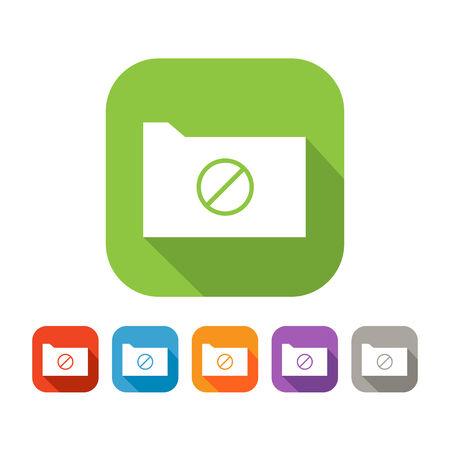 negar: Blanco y verde carpeta plana cuadrada con negar signo icono con juego de colores en rojo, azul, naranja, p�rpura y colores grises