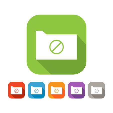 deny: White and green square flat folder with deny sign icon with color set in red, blue, orange, purple and grey colors