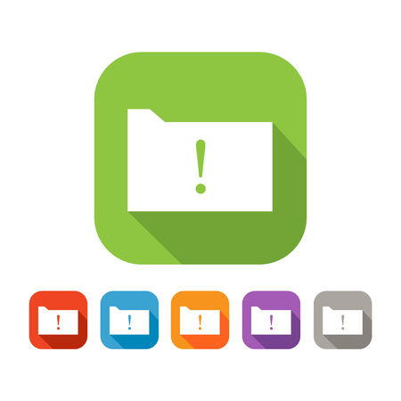 exclamatory: White and green square flat icon of folder with warning sign. Color set in red, blue, orange, purple and grey colors Illustration