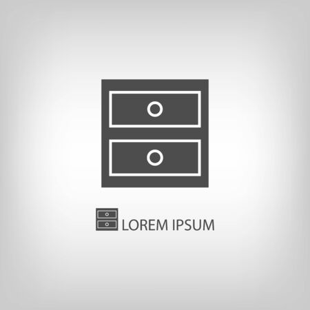 copyspace: Chest of drawers   in grey colors with copyspace Illustration