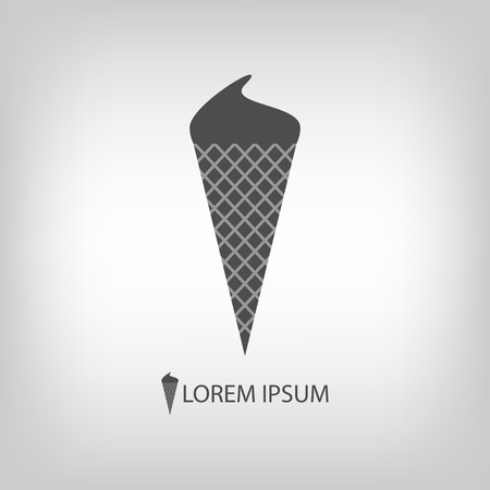 copyspace: Ice-cream cone   in grey colors with copyspace Illustration