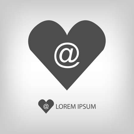 copyspace: Heart with mail sign   in grey colors with copyspace