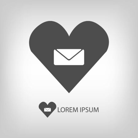 copyspace: Heart with letter in grey colors with copyspace Illustration