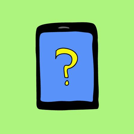 Doodle style pad with question mark. Assistance sign Vector