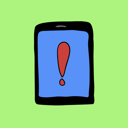 exclamatory: Doodle style pad with exclamation mark. Warning symbol